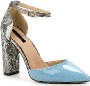 Lost Ink Carey D Orsay Block Heel Courts, Blue