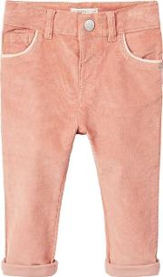 Baby Cotton Corduroy Trousers, Pink