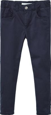 Girls Cotton Trousers, Blue