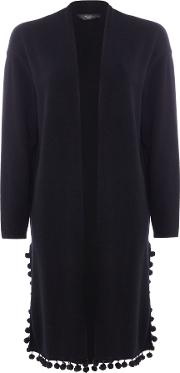 Pacca Long Line Cardigan With Pom Poms, Black
