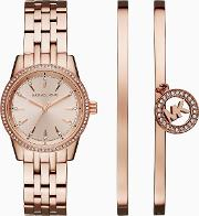 Mk3744 Ladies Ritz Watch, Rose Gold