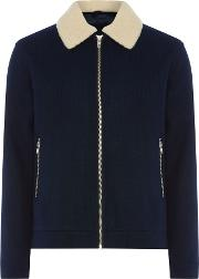 Men's  Jacket With A Teddy Collar, Dark Blue