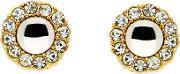 Gold Crystal Cabochon Earrings, Na