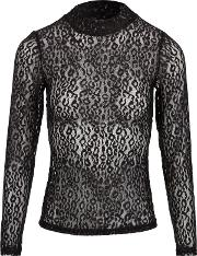 Lace Top With Animal Print, Black