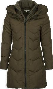 Long Quilted Jacket Down And Feathers, Khaki