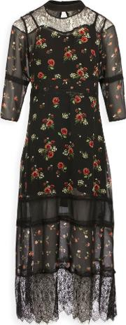 Long Voile Dress With Floral Print, Multi Coloured