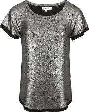 Loose Fitting T Shirt Metallic Motif, Silver