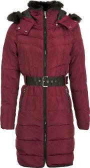 Mid Lenght Belted Down Jacket, Plum