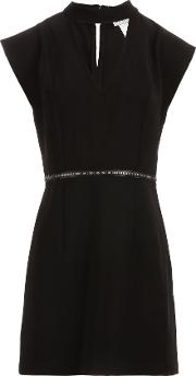 Morgan Studded Waist Serge Dress, Black