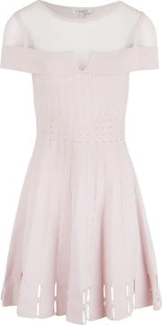 Openwork Knit And Mesh Dress, Pink