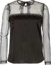 Plumetis Lace And Satin Top, Black