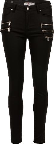 Satin Twill Biker Pants, Black