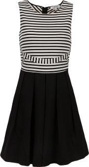Striped Stretch Knit Dress, Black