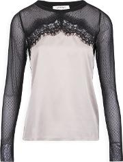 Top With Lace And Tulle Panel, Grey