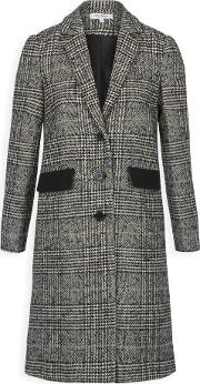 Wool Blend Houndstooth Coat, Black