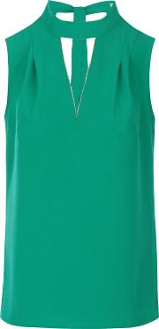 Zip Embellished Crepe Top, Green