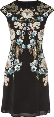 Mini Dress With Oriental Floral Embellishment, Black
