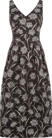 Dandelion Jacquard Midi Dress, Black