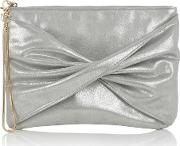 Tracy Twisted Clutch, Silver Marl