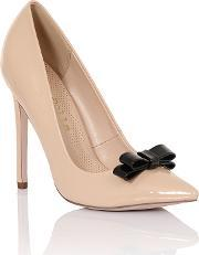 Tape Bow Court Shoes, Nude