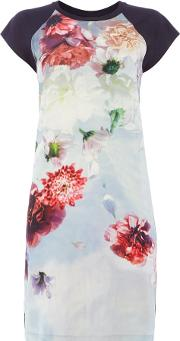 Pauls Photo Floral T Shirt Dress, Multi Coloured