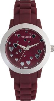 Sweet And Stylish Red Heart Watch, Silver