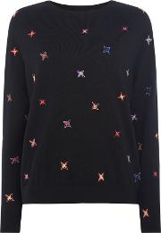 Star Stitch Jumper, Black