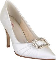 Samantha Diamante Buckle Heel Shoes, White