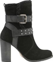 Vernon Buckle Detail Ankle Boots, Black