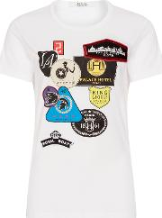Printed Jersey T Shirt With Patches, White