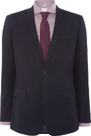 Men's  Clean Navy Flannel Suit Jacket, Navy