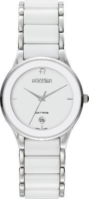 Cv17.10rox Ceraline Saphira White Ceramic Watch, Silver