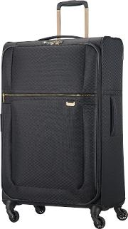 Uplite Black & Gold 78cm Large Suitcase, Black