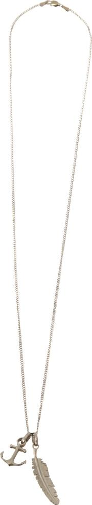 Feather And Anchor Necklace, Silver