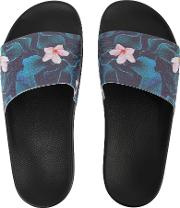 Coco Floral Print Sliders, Black