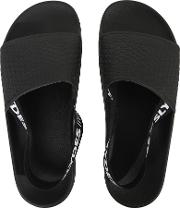 Fin Back Heel Strap Sliders, Black