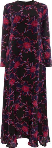 Amour Maxi Long Sleeve Contrast Floral Dress, Blue