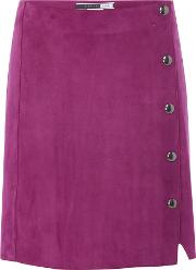Fico Button Front Suede Skirt, Plum