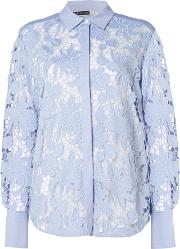 Longsleeve Lace Shirt With Floral Decoration, Light Blue