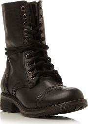 Troopa 2.0 Sm Leather Lace Up Calf Boot, Black Leather