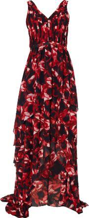 Sleeveless High Hem Floral Maxi Dress, Multi Coloured