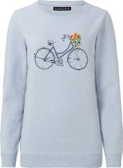 Floral Bicycle Sweater, Light Blue