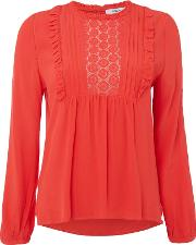 Louise Crochet Blouse, Red