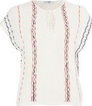 Paquerette Ss Stripe Knit, Cream