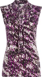 Sleeveless Pattern Top With Tie Neck, Multi Coloured