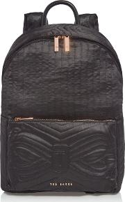Nylon Quilted Bow Backpack