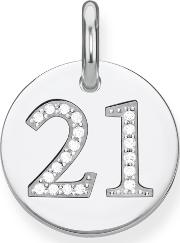 Love Coin Lucky Number 21 Heart Pendant, Silver