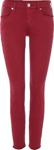 Casey Cropped Fray Jeans In Merlot, Pink