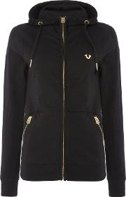 Hooded Jacket With Metalic Zip Fastening, Black