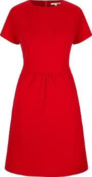 Textured Ponte Day Dress, Red